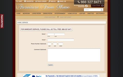 Screenshot of Support Page furniturefromhome.com - Support - captured Sept. 22, 2014