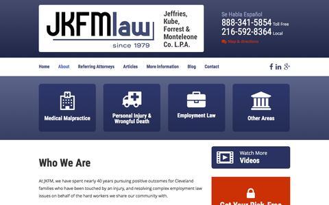 Screenshot of About Page jkfmlaw.com - Jeffries, Kube, Forrest & Monteleone   Cleveland Ohio Law Firm - captured Jan. 23, 2016