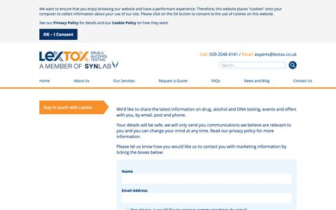 Screenshot of Signup Page lextox.co.uk - Stay in touch with Lextox - captured Dec. 8, 2018