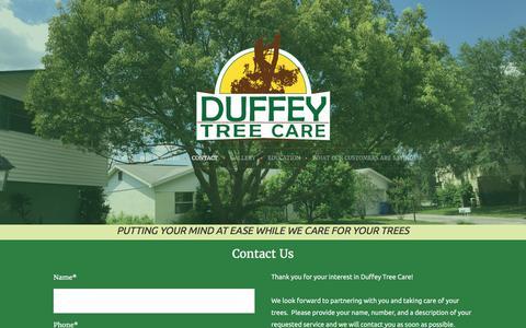 Screenshot of Contact Page duffeytreecare.com - Contact - captured July 5, 2017