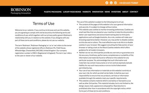 Screenshot of Terms Page robinsonpackaging.com - Terms of Use • Robinson Packaging - captured Sept. 24, 2018