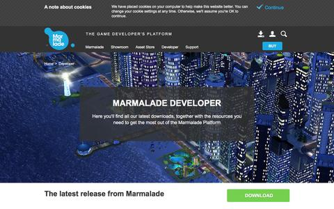Screenshot of Developers Page madewithmarmalade.com - Marmalade Developer - Game Creation Software Downloads - captured Feb. 6, 2016