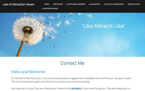 Screenshot of Contact Page law-of-attraction-haven.com - Contact - captured Jan. 15, 2016