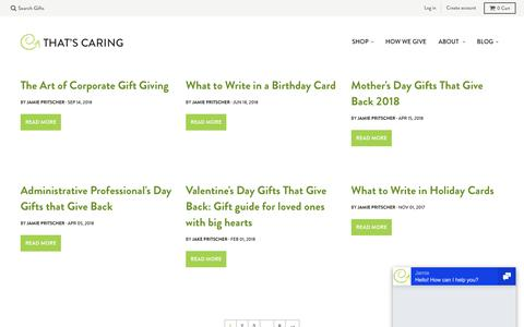 Screenshot of Blog thatscaring.com - Gift Guides – That's Caring - captured Sept. 20, 2018