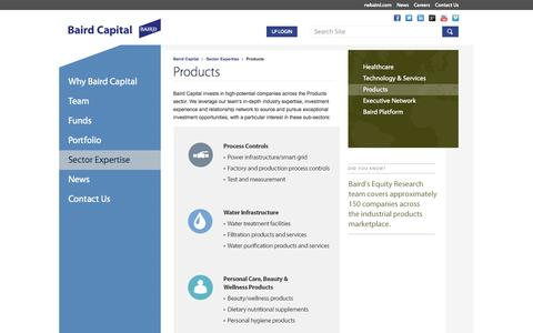 Screenshot of Products Page bairdcapital.com - Products Sector Expertise | Baird Capital - captured Sept. 30, 2014