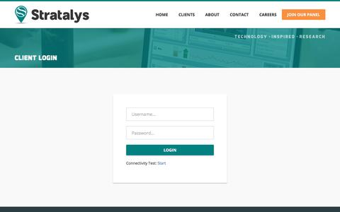 Screenshot of Login Page stratalys.com - STRATALYS Research & Consulting - captured Dec. 2, 2016