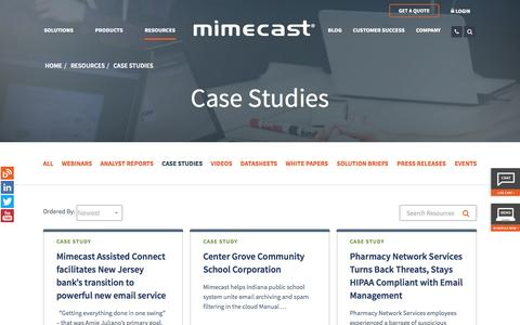 Screenshot of Case Studies Page mimecast.com - Email Security Case Studies | Mimecast - captured Nov. 10, 2015