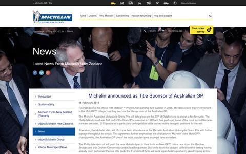Screenshot of Press Page michelin.co.nz - Asia Pacific News | Michelin NZ - captured Jan. 15, 2017