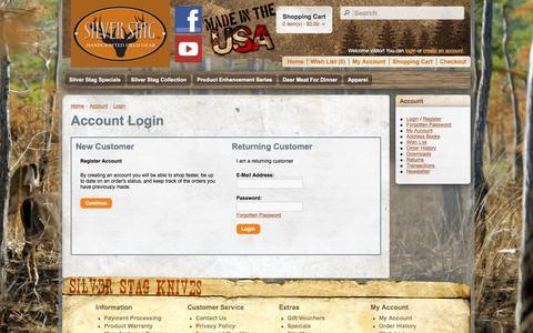 Screenshot of Login Page silverstag.com - Account Login - captured Feb. 16, 2016