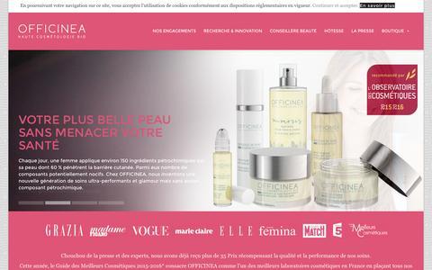 Screenshot of Home Page officinea.fr - Cosmétique Bio, conseils et vente à domicile VDI - OFFICINEA - captured Jan. 10, 2016