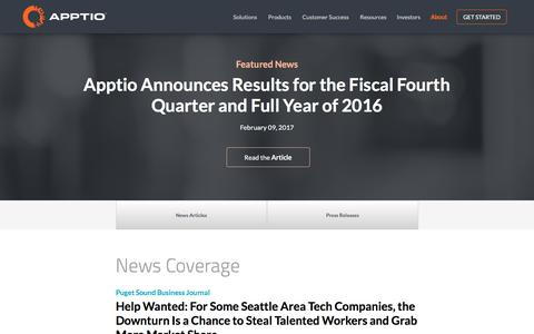 Screenshot of Press Page apptio.com - News Room | Apptio - captured Feb. 14, 2017