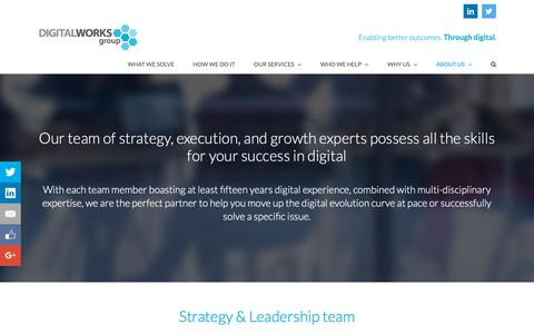 Screenshot of Team Page digitalworksgroup.com - Our team of strategy, execution, and growth experts - captured Dec. 5, 2018