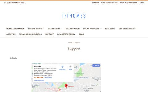 Screenshot of Support Page ifihomes.com - Contact IFIhomes - captured Jan. 29, 2018