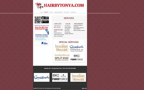 Screenshot of Services Page hairbytonya.com - Services | Hair By Tonya - captured Sept. 29, 2014