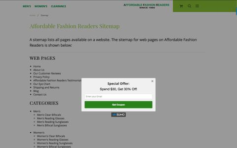 Screenshot of Site Map Page affordablefashionreaders.com - Sitemap - captured May 29, 2017