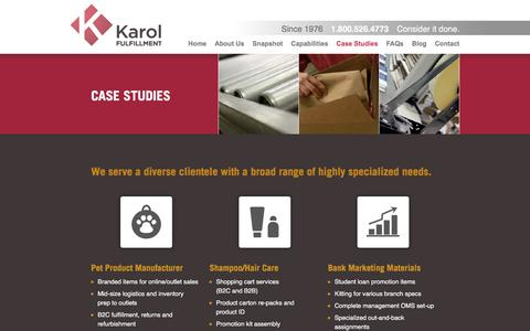 Screenshot of Case Studies Page karolfulfillmentservices.com - Karol Fulfillment Services | Case Studies - captured March 23, 2016