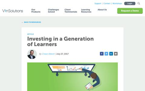 Screenshot of Blog vinsolutions.com - VinSolutions - Investing in a Generation of Learners: The Value of Training - captured Dec. 3, 2019