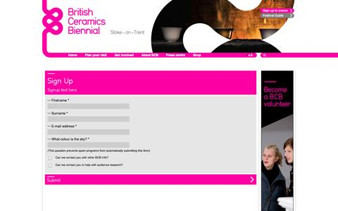 Screenshot of Signup Page britishceramicsbiennial.com - British Ceramics Biennial - captured Oct. 5, 2014