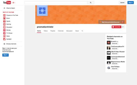 Screenshot of YouTube Page youtube.com - promotionhiretv  - YouTube - captured Oct. 23, 2014