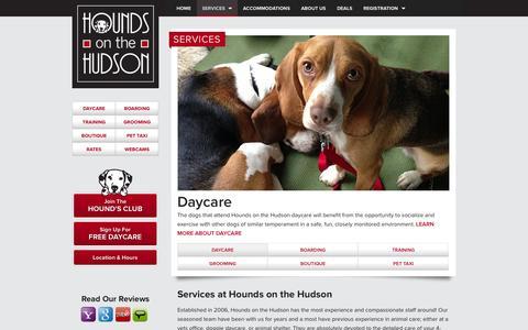 Screenshot of Services Page houndsonthehudson.com - Dog Daycare and Boarding Services - Hounds on the Hudson - captured Sept. 30, 2014