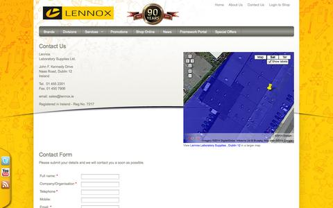 Screenshot of Contact Page lennox.ie - Contact Us - Lennox Laboratory Supplies - captured Oct. 2, 2014
