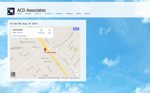 Screenshot of Maps & Directions Page acdassociates.com - Directions - captured Sept. 30, 2014