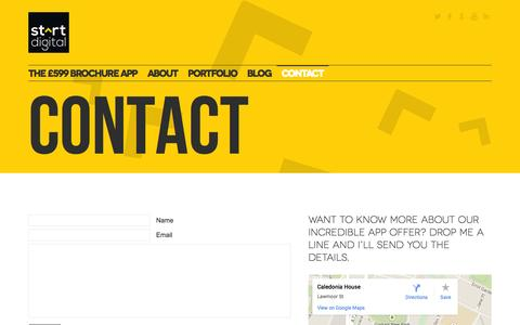 Screenshot of Contact Page startdigitalpublishing.com - Start Digital  » Contact - captured Oct. 7, 2014