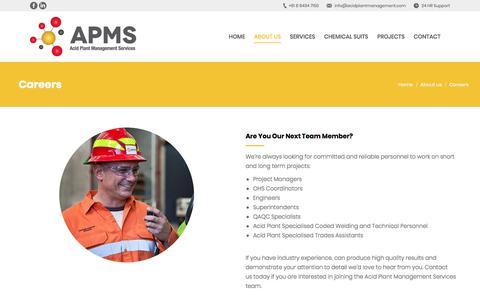 Screenshot of Jobs Page acidplantmanagement.com - Careers | Sulphuric Acid Plant Management and Maintenance Services - captured Feb. 11, 2018