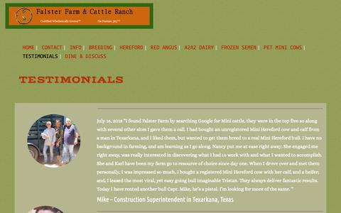 Screenshot of Testimonials Page falsterfarm.com - Testimonials | Mini Cattle For Sale in East Texas - captured Oct. 10, 2018