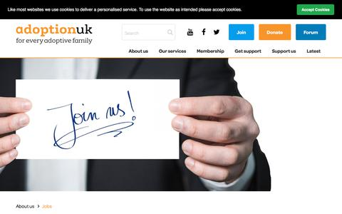 Screenshot of Jobs Page adoptionuk.org - Adoption UK Charity | Jobs - captured July 29, 2018