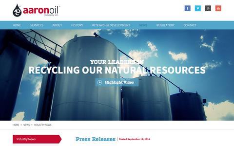 Screenshot of Press Page aaronoil.com - Industry News | Aaron Oil - captured Oct. 4, 2014