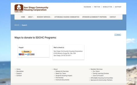 Screenshot of Support Page sdchc.org - Support | SDCHC - captured Nov. 19, 2016