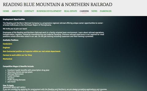 Screenshot of Jobs Page rbmnrr.com - Careers — Reading Blue Mountain & Northern Railroad - captured March 10, 2016