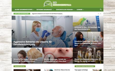 Screenshot of Home Page 100-gesundheitstipps.de - 100-Gesundheitstipps.de - Ihr Ratgeber für Gesundheit & Alternative Medizin - captured Sept. 23, 2018