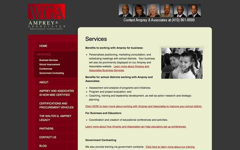 Screenshot of Services Page ampreyandassociates.com - Services | Educational Consultants for Business & School Districts - Amprey & Associates - captured Oct. 4, 2014