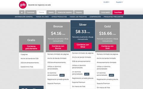 Screenshot of Pricing Page yola.com - Yola   Información de precios, paquetes Premium y comparación - captured Nov. 16, 2016