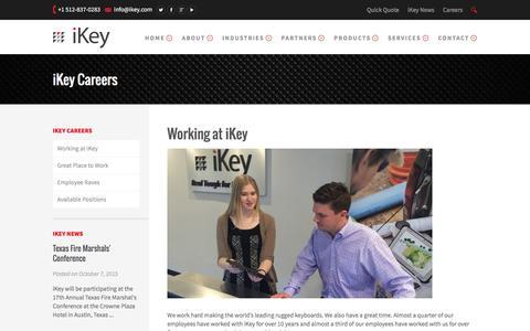 Screenshot of Jobs Page ikey.com - Working at iKey - iKey - captured Feb. 11, 2016