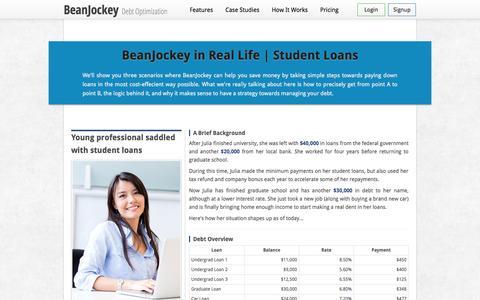 Screenshot of Case Studies Page beanjockey.com - BeanJockey   Use Case - Student Loans - captured Sept. 13, 2014