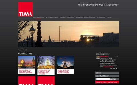 Screenshot of Contact Page tima.com - Contact - captured Oct. 9, 2014