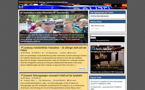 Screenshot of Home Page highwaynews.de - www.Highwaynews.de - Rettungs- Feuerwehr und Polizeimeldungen - captured Sept. 19, 2014