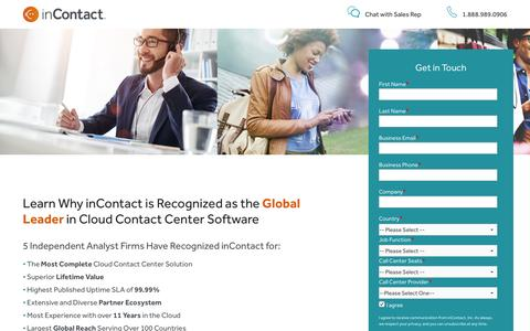 Screenshot of Landing Page incontact.com - Learn Why inContact is the Cloud Contact Center Leader - captured March 27, 2017