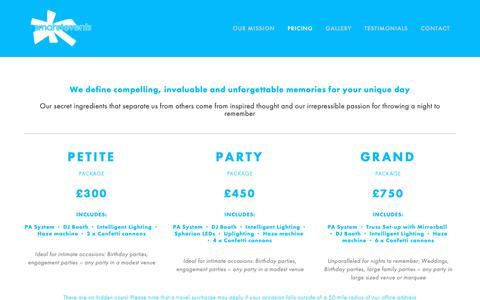 Screenshot of Pricing Page smahrtevents.co.uk - Smahrt Events - Pricing - captured Oct. 20, 2018