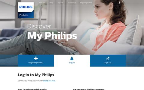 Screenshot of Login Page philips.com - Login - captured May 25, 2016