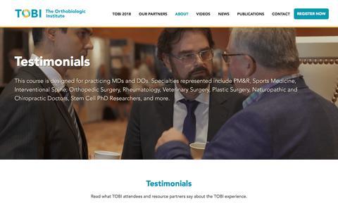 Screenshot of Testimonials Page prpseminar.com - Testimonials - TOBI PRP Seminar - captured Oct. 23, 2017