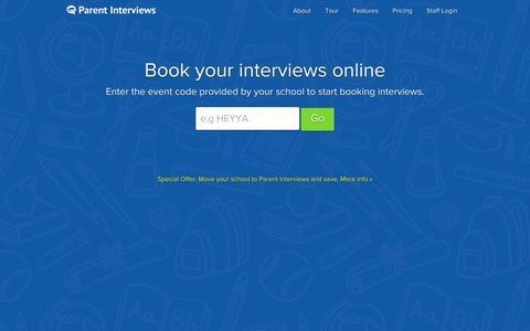 Screenshot of Home Page parentinterviews.co.nz - Parent Interviews - The smart way to manage parent teacher interviews for your school - captured Oct. 1, 2014