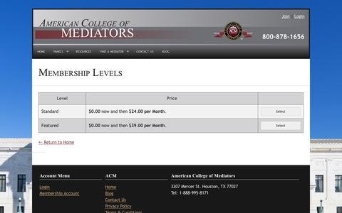 Screenshot of Signup Page americancollegeofmediators.com - Membership Levels - American College of Mediators - captured July 25, 2016