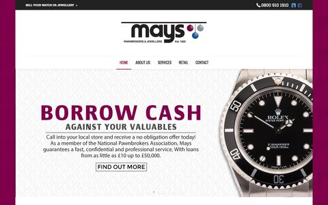 Screenshot of Services Page mayspawnbrokers.co.uk - Mays Pawnbroking | Mays Pawnbrokers & Jewellers - captured Oct. 27, 2014