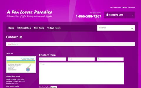 Screenshot of Contact Page penloversparadise.com - Contact Us - A Pen Lovers ParadiseA Pen Lovers Paradise - captured Nov. 2, 2014