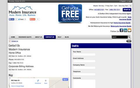 Screenshot of Hours Page moderninsurance.biz - Modern Insurance  > Contact Us - captured Oct. 9, 2014