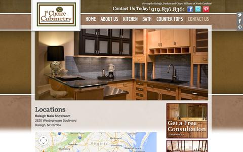 Screenshot of Locations Page 1stchoicecabinets.com - Raleigh Cabinets, Kitchen Cabinets Raleigh, Custom Kitchen Cabinets. - captured Oct. 7, 2014